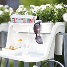Flower bridge table, white