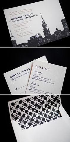 Letterpress Wedding Invitation Set New York City Skyline