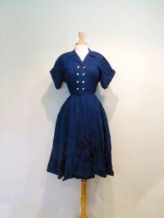 Vintage Navy Blue 1980s does 1950s Shirtwaist Dress