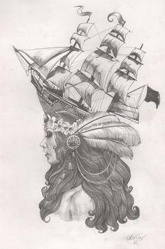 Marie Antoinette Ship Hat Tattoo #tattoo #tattoo patterns #tattoo design| http://awesome-tattoo-pics.blogspot.com