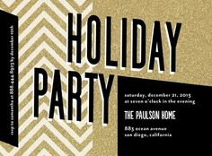Zigzag Glitz - Flat Holiday Party Invitations by Petite Alma in a sparkle and glitz gold and black design. #TinyPrintsCheer