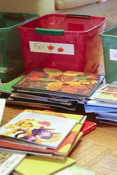 Divide books into seasonal bins to rotate what's available, then display in several book nook baskets around the house for easy access.