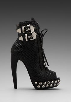 Jeffrey Campbell Rudy Embellished Open Toe Boot in Black/Silver