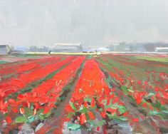Landscape spring #7 Red fields and overcast day, 24x30 cm, Roos Schuring 2012 Bollenveld Bulbfields near Lisse. http://roosschuring.blogspot.com/