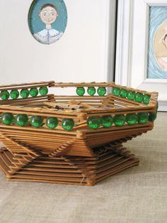 Vintage Popsicle Stick Basket / Bowl / Folk Art / by wilshepherd, $28.00