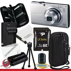 Canon PowerShot A4000 IS (Silver) 16.0 MP Digital Camera with 8x Optical Image Stabilized Zoom Package 3 by Canon. $139.99. Package Contents:  1-Canon PowerShot A4000 IS new with all supplied accessories  1- 8GB SDHC Class 10 Memory Card 1- Rapid External Ac/Dc Charger Kit  1- USB Memory Card Reader  1- Rechargeable Lithium Ion Replacement Battery  1- Weather Resistant Carrying Case w/Strap  1- Pack of LCD Screen Protectors  1- Camera & Lens Cleaning Kit System ...
