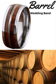 This amazing wood tungsten wedding band is inspired from old wood barrels. This ring makes one unique mens wedding band! #weddingring