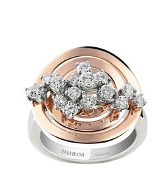 Damiani. SOPHIA LOREN. WHITE, PINK GOLD AND DIAMOND (ct 0.89) RING
