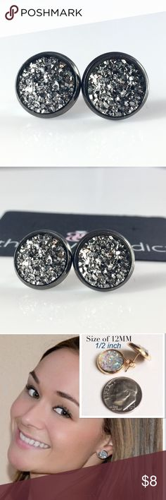3 for 15🎀flat rocky Grey faux druzy studs New! Handmade by me 1/2 inch, 12mm faux acrylic druzy in Gunmetal tone earrings. Gunmetal backings. PRICE FIRM if purchasing 1 pair. No trades.  ➡️TO GET 3 FOR 15 deal⬅️ ✅Click Add to Bundle under any 3 items (marked 3 for 15) ✅Make offer for $15 ✅I'll accept your offer ✅ Additional items $5 each so 4 pairs=$20, 5 pairs=$25, etc. If you need help, let me know 😊 thejeweladdict Jewelry Earrings