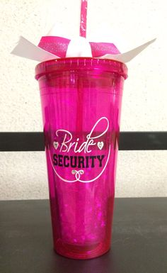 Customized Acrylic 20 oz Bridesmaids cup/ tumbler (Bridal security) w/straw and diamond ring
