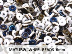 Korálky - Mačkané - Wheel Beads - Wheel Beads, 6 mm, chalk azuro, 10 g