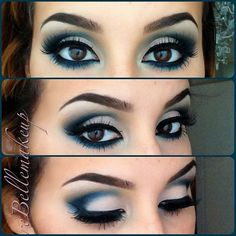 Blue smokey eye, this looks so good with her brown eyes!