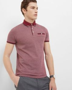 ddc102202 Ted Baker Striped cotton polo Dark Red   Eeseeagans Online on WeShop