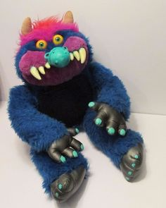 "Vintage My Pet Monster 1986 Amtoy American Greetings 26"" Blue Stuffed Animal #Amtoy"