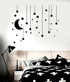 Vinyl Wall Decal Stars Crescent Moon Dream Bedroom Ideas Stickers - Products - Home decor interests Cute Room Decor, Room Wall Decor, Diy Wall Decor, Bedroom Decor, Bedroom Ideas, Home Decor, Bedroom Wall Designs, Wall Decals For Bedroom, Wall Stickers Home