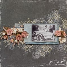 """Justine's Car"" by Pascale B. Gorgeous layout, created with papers from MajaDesign's Celebration collection. <3 #layout #LO #lo #scrapbooking #scrapbook #scrapping #scrap #papercraft #papercrafting #papercrafts #majadesign #majadesignpaper #majapapers #inspiration #vintage"