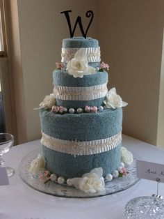 wedding cake made out of towels two tier wedding bridal shower towel cake wedding 23110