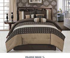 7 Piece Queen Chenille Sqaure Comforter Set