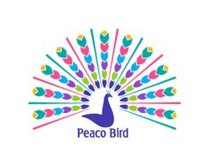 Peaco Bird Logo design - This design is of a peacock in a very unique style, its very colorful and attractive. It can be use full for pet lovers, blogs, websites, entertainment, media, studio, film productions, zoo and amusement parks and other business or services.  Price $499.00