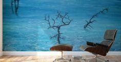 Mural Print,  interior,decor,decoration,wall,art,room,design,blue,modern,cool,unique,artistic,beautiful,painting,coastal,scene,seascape,trees,water,big