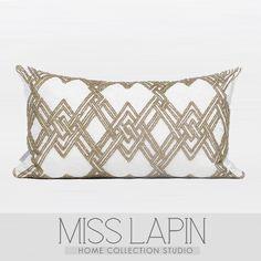 MISS LAPIN新古典/样板房设计师靠包抱枕/金色菱格立体绣珠腰枕-淘宝网