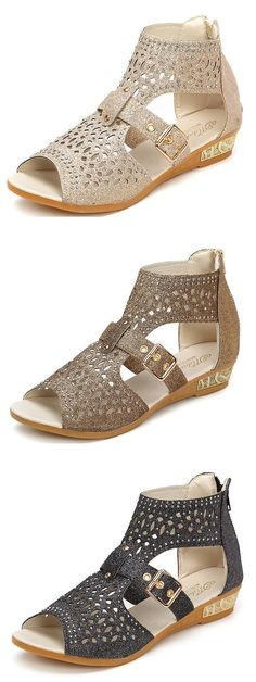 a8797fa78db0 Peep Toe Rhinestone Hollow Out Wedges Zipper Roman Sandals is comfortable  to wear. Shop on NewChic to see other cheap women sandals on sale.