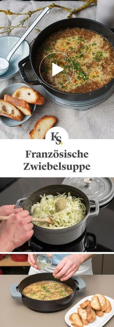 French onion soup- Französische Zwiebelsuppe Of the the French cuisine is this with delicious cheese. Soup Appetizers, Appetizer Recipes, Onion Soup Recipes, Tortellini, Soup Kitchen, French Kitchen, French Onion, Vegan Breakfast Recipes, French Food