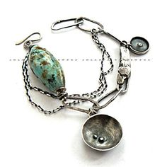 chrysocolla sterling silver by jolanta krajewska on Etsy  $268.85