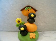 Crows and Pumpkin Birdhouse  Figurine by countrycupboardclay