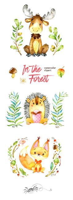 In the Forest. Watercolor animals clip art by StarJamforKids