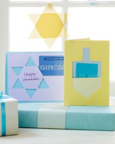 Hanukkah Star And Dreidel Cards