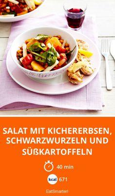 Salat mit Kichererbsen, Schwarzwurzeln und Süßkartoffeln