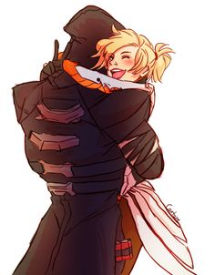 I don't shipp Reaper and Mercy, but this foto is cute