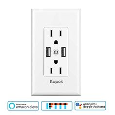 Save 40% on AMAZON with code S2O5BXKN Pinned on 9/26/2018 Smart WiFi Wall Outlet,Independently Controllable Top & Bottom Outlets, Works with Alexa Dot Echo Plus Google Assistant IFTTT,Duplex Receptacle,No Hub Required Alexa Dot, Electronic Deals, Works With Alexa, Wall Outlets, Wifi, It Works, Join, Essentials, Change