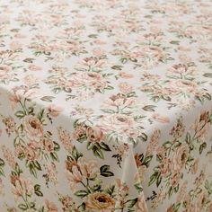 Textilwachstuch Hellgrau Rosa Rosen - Stoff & Stil