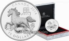 Canada 2014 Year of the Horse Chinese Lunar Zodiac $15 Round Pure Silver Proof