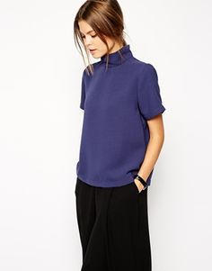 ASOS Top with Clean High Neck great to pair with crop pants #blue
