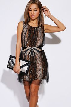 Tulle Overlay Shift Party Dress
