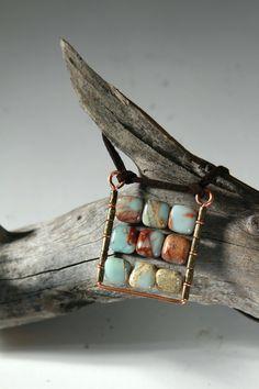 Square Pendant Boho plaid pendant Natural blue gemstone by LenaMer