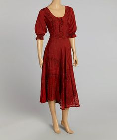 Look at this #zulilyfind! Red Peasant Dress by Advance Apparels #zulilyfinds