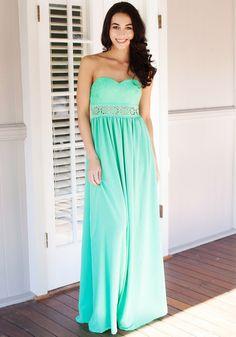 Floral Cutout Waist Maxi Dress in Mint. Love that summerish color!