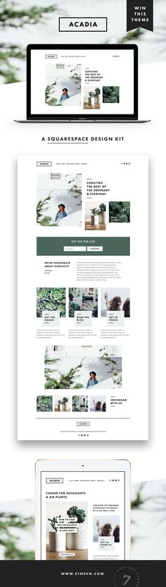 GIVEAWAY! Introducing our latest web design for Squarespace, Acadia! If you've been thinking about sprucing up your blog or site design, there's no time like the present. Simply follow us /stnsvn/ and repin this pin for a chance to win our new Acadia Squarespace kit and start rockin your online presence! Giveaway ends 12/31/2016 :)