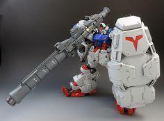 "Custom Build: HGUC Gundam ""Physalis"" [Zeon's Revival of Tactical Nuclear Weapons] Gundam Mobile Suit, Gundam Art, Armored Fighting Vehicle, Custom Gundam, Great Paintings, Gundam Model, Diorama, Weapons, Building"