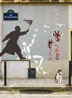 Jérôme Mesnager, Némo, et un autre artiste dont le nom je ne connais pas. Art urbain à Paris, 20ième arrondissement.