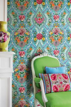 E341101 Floral Wallpaper on sky blue background by Pip Studio for Eijffinger. Designed and made in the Netherlands. Available through selected Guthrie Bowron stores.