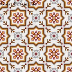 Encaustic Cement Tile - Elios | Great Britain Tile Color Tile, Aesthetic Backgrounds, Mosaic Tiles, Tiles, Portuguese Tiles, Cement Tile, Tile Design, Tile Installation, Tile Patterns