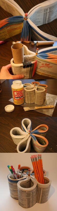 10 Useful Creative DIY Pencil Holder Ideas  Porta-Trecos ou Porta Lápis - Reciclagem com Papel - Faça você mesmo!