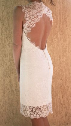 Wedding Lace Dress with Scalloped Keyhole, Custom Made Tea Length Wedding Dress, Short Wedding Dress, Reception Dress
