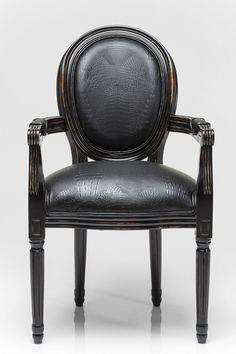 Louis tuoli musta käsinojilla | Sisustusliike Don Goffo - Verkkokauppa