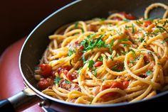Linguini a la Amatriciana muy fácil y rico